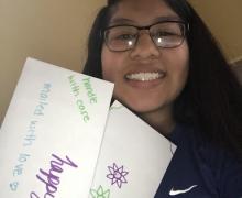 Upward Bound student, Alisa Cruz, participates in service-learning summer program components.