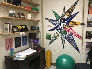 Molly's Office at Mitchell High School with pennants and inclusive flags